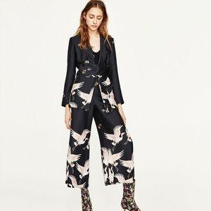Zara crane print blazer with belt
